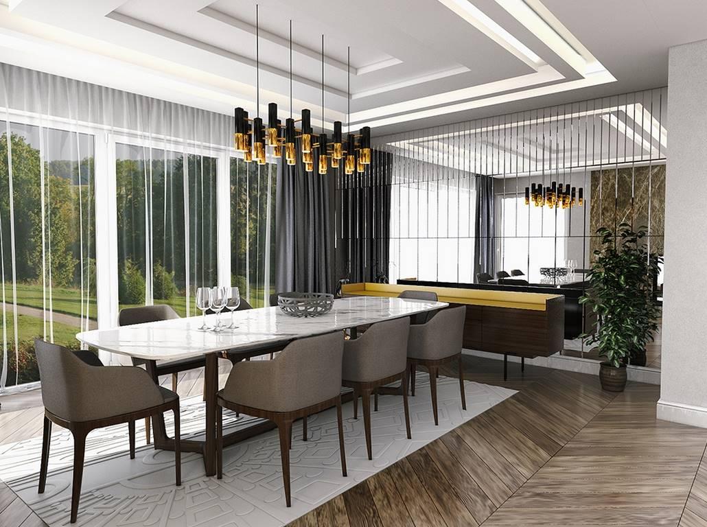 Villa iç mimari tasarım yemek odası