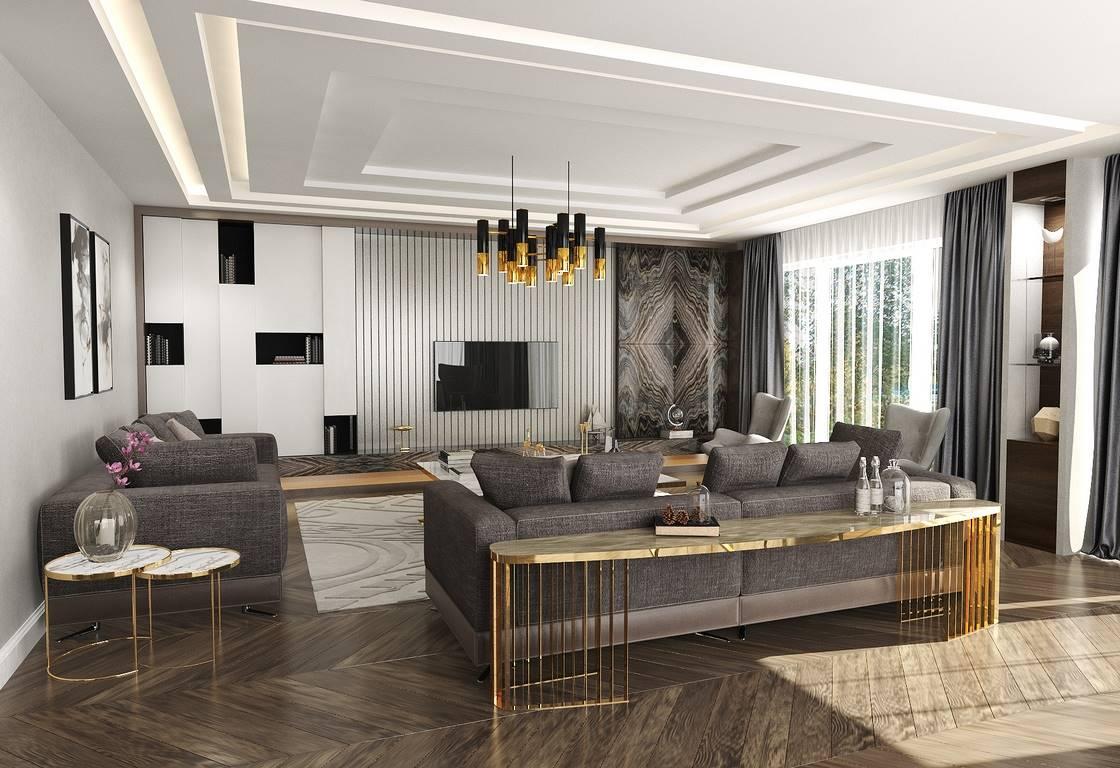 Villa oturma odası iç mimari tasarım