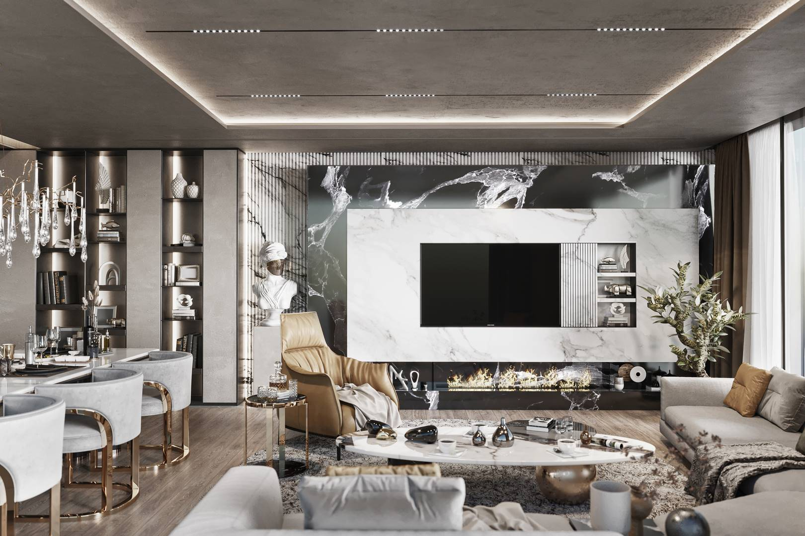 Emaar Residence Salon iç mimari tasarımı